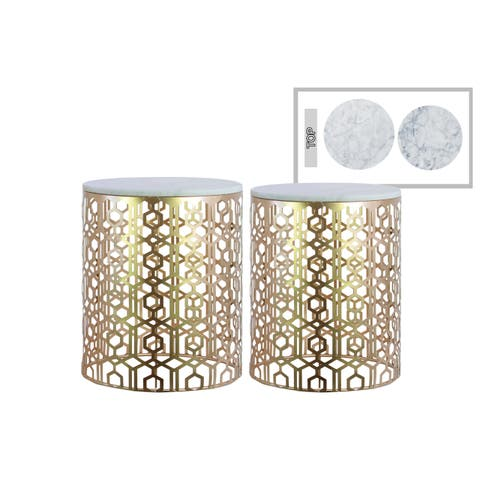 Urban Trends Metal Round Nesting Accent Table with Marble Top and Lattice Design Body in Metallic Finish, Set of 2 - Champagne