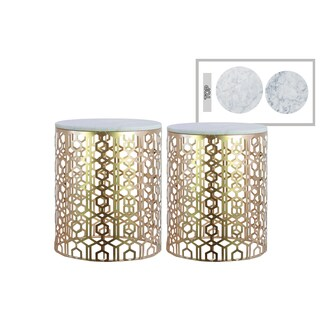 Urban Trends Collection Champagne Metal Round Nesting Accent Tables With  Marble Top And Lattice Body Design