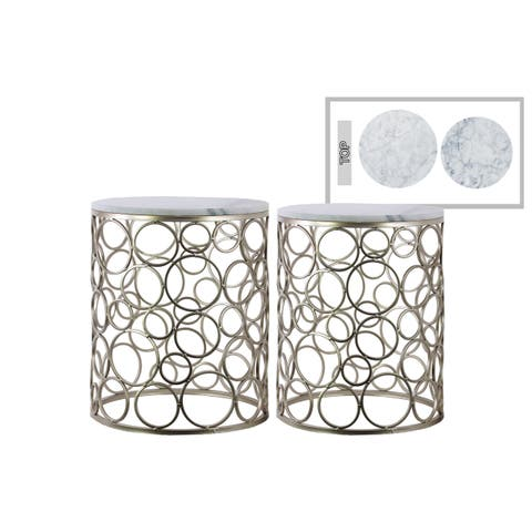 Urban Trends Metal Round Nesting Accent Table with Marble Top and Circle Design Body in Metallic Finish, Set of 2 - Champagne