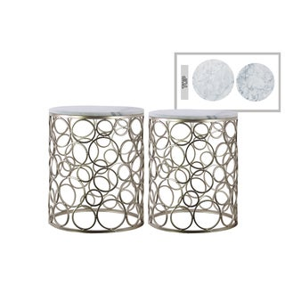 Urban Trends Champagne Metallic Finish Metal Round Marble Top 2-piece Nesting Accent Table Set