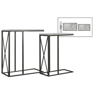 Metallic Finish Black Marble Top Metal Rectangular Nesting Accent C Table (Set of Two)