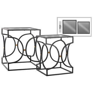 Urban Trends Collection Metallic Black Metal with Mirror Top 2-piece Rectangular Hourglass-design Nesting Accent Table Set