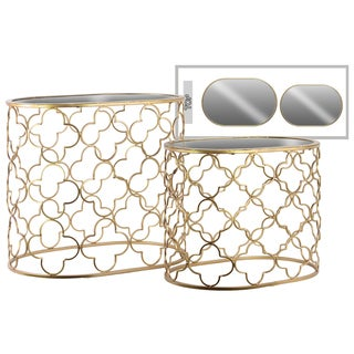 Urban Trends Collection Gold Metallic Finish Metal Oval Nesting Accent Table with Mirrored Top (Set of 2)