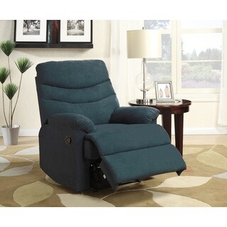 Porch & Den Bay View Hilbert Blue Microfiber Recliner