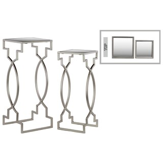 Urban Trends Collection Silver Metal Square Nesting Table with Mirror Top (Set of 2)