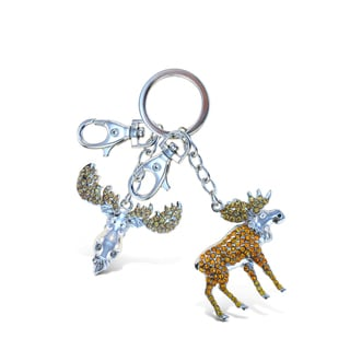 Puzzled Wild Moose Sparkling Charms Keychain