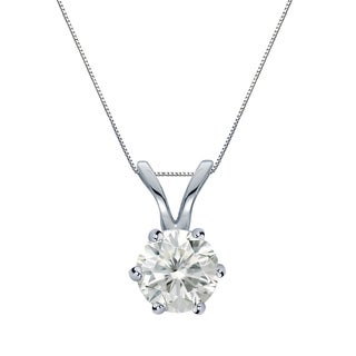 Auriya 14k Gold 1/2ct TDW Round-Cut Diamond 6-Prong Solitaire Necklace (I-J, SI2-SI3)