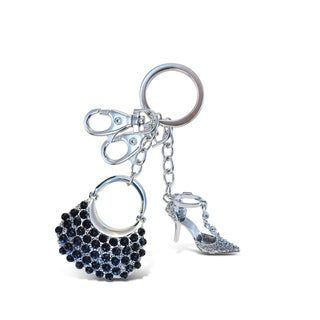 Puzzled Sparkling Charm Black Bag and High Heel Shoe