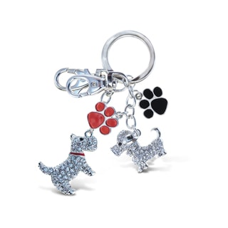 Puzzled Dog Multicolored Metal Sparkling Animal-themed Charm Keychain