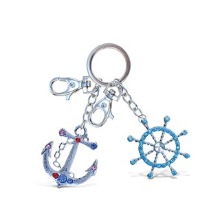 Puzzled Metal/Crystal Anchor and Steering Wheel Sparkling Charm Keychain