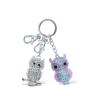 Puzzled Clear and Pink Owl Sparkling Charm Elegant Keychain
