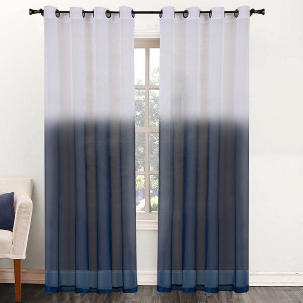 Two Tone Ombre 84 Inch Sheer Curtain Panel
