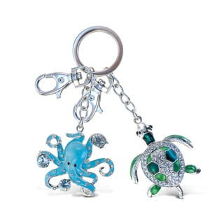 Puzzled Sparkling Green Sea Turtle & Blue Octupus Ocean/Sea Life Charm