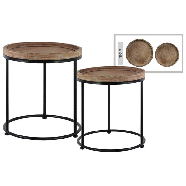 Urban trends collection beige wood round nesting accent