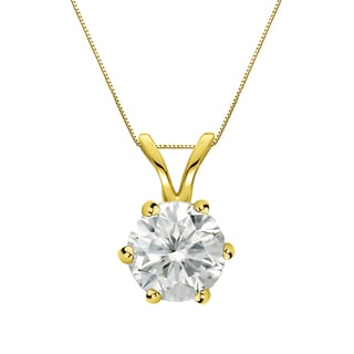 Auriya 14k Gold 1ct TDW Round-Cut Diamond 6-Prong Solitaire Necklace (I-J, SI2-SI3)