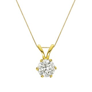 Auriya 14k Gold 1/4ct TDW Round-Cut Diamond 6-Prong Solitaire Necklace (J-K, I1-I2)
