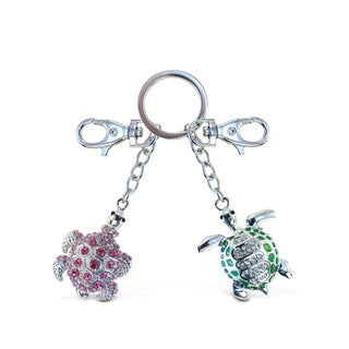 Puzzled Green And Pink Sea Turtle Sparkling Charm Elegant Keychain