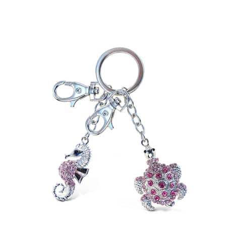 Puzzled Metal Pink Seahorse and Sea Turtle Sparkling Charm Keychain