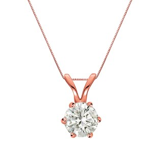 Auriya 14k Gold 1/3ct TDW Round-Cut Diamond 6-Prong Solitaire Necklace (J-K, I1-I2)