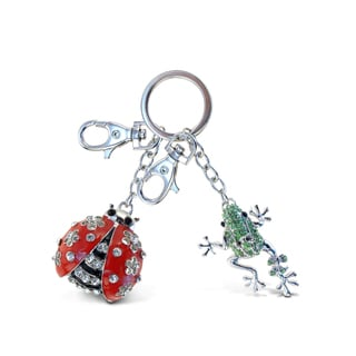 Puzzled Metal/Crystal Ladybug and Frog Sparkling Charm Keychain