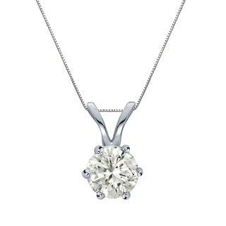 Auriya 14k Gold 1/2ct TDW Round-Cut Diamond 6-Prong Solitaire Necklace (J-K, I1-I2)