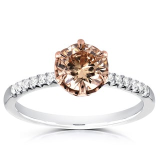 Annello 18k Two Tone Gold 1 1/8ct TDW Champagne Brown and White Diamond Ring (Brown, SI1)