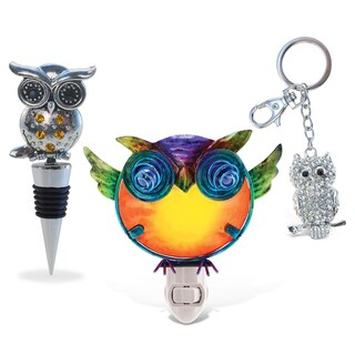 Puzzled Owl Wine Stopper, Sparkling Charm, and Nightlight Set