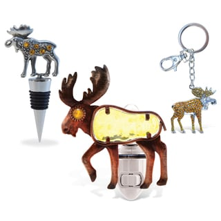 Puzzled Moose Wine Stopper, Sparkling Charm and Night Light Set