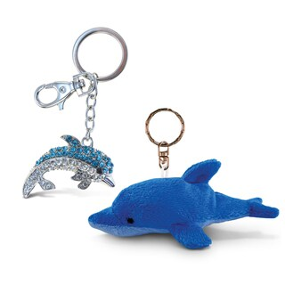 Puzzled Dolphin Plush Ocean/Sea Life Theme Keychain and Sparkling Charm