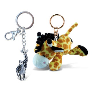 Puzzled Giraffe Super Soft Plush and Sparkling Charm Set