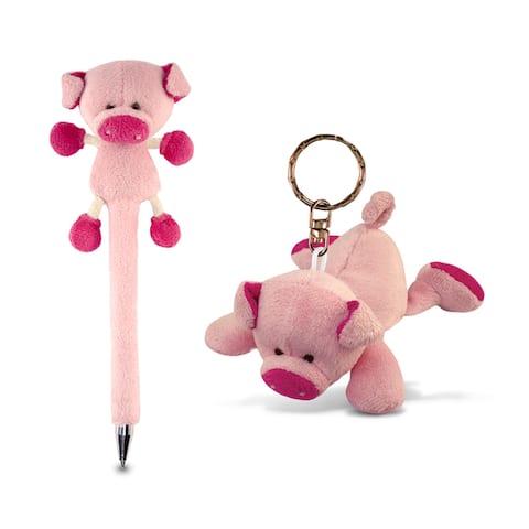Puzzled Plush Pig Animal Theme Pen and Keychain (Set of 2)