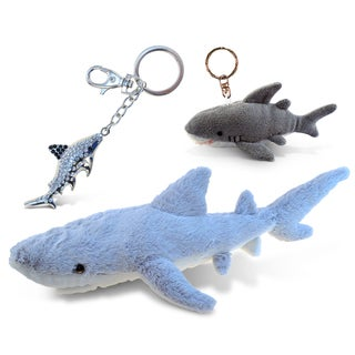 Puzzled Shark Super Soft Plush, Plush Keychain, and Sparkling Charm Set