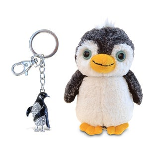 Puzzled Penguin Super Soft Plush and Sparkling Charm Set