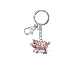 Puzzled Sparkling Charms Pink Metal Pig Key Chain
