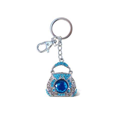 Puzzled Purse Blue Sparkling Charm
