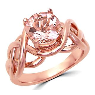 Noori 1 3/5 TGW Round Morganite Solitaire Engagement Ring 14k Rose Gold - Pink