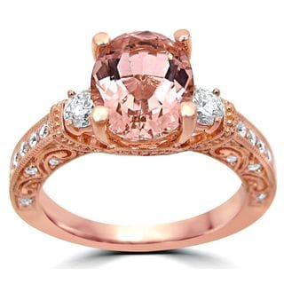 Noori 2 1/6 TGW Oval Morganite 3 Stone Diamond Engagement Ring 14k Rose Gold