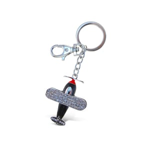 Puzzled Sparkling Charms Multicolored Metal Bi Plane Keychain