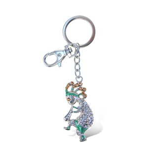 Puzzled Sparkling Charms Kokopelli Multicolored Metal Keychain