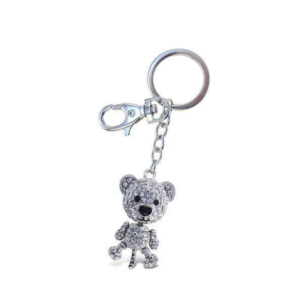 Puzzled Black Bear Sparkling Charm Elegant Keychain