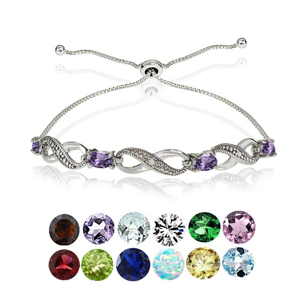 Glitzy Rocks Sterling Silver Diamond Accent and Gemstone Birthstone Adjustable Slider Bracelet. Opens flyout.