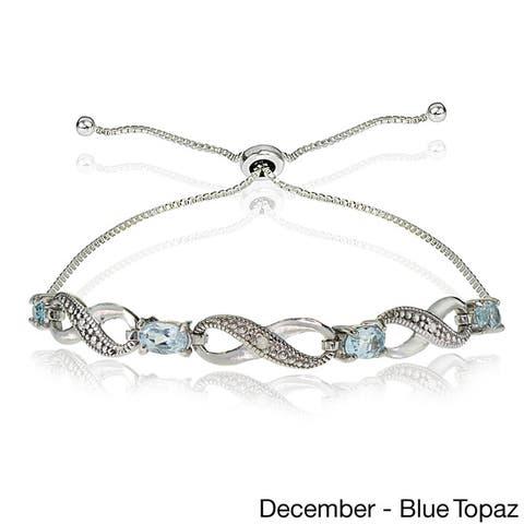 Glitzy Rocks Sterling Silver Diamond Accent and Gemstone Birthstone Adjustable Slider Bracelet