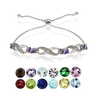 Glitzy Rocks Sterling Silver Diamond Accent and Gemstone Birthstone Adjustable Slider Bracelet|https://ak1.ostkcdn.com/images/products/12363767/P19190048.jpg?impolicy=medium
