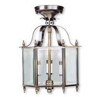 Livex Lighting Livingston 3 Light Antique Brass Convertible Chain Hang/Ceiling Mount
