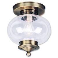 Livex Lighting Harbor 1-Light Antique Brass Ceiling Mount - Gold