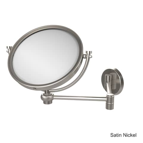 "Allied Brass 8 Inch Wall Mounted Extending Make-Up Mirror 2X Magnification with Twist Accent - 8""D"