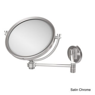 Allied Brass 8-inch Wall-Mounted Extending 2X Magnification Makeup Mirror with Groovy Accent