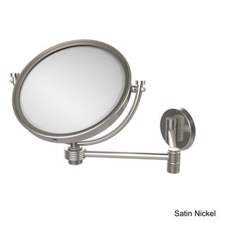 Allied Brass 8-inch Wall-mounted Extending 4X Magnification Make-Up Mirror with Groovy Accent