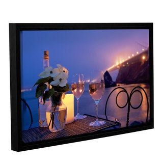 Alan Blaustein's 'Dream Café Golden Gate Bridge 7' Gallery Wrapped Floater-framed Canvas