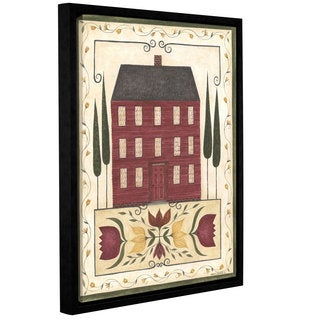 Cindy Cshamp's 'Red House' Gallery Wrapped Floater-framed Canvas